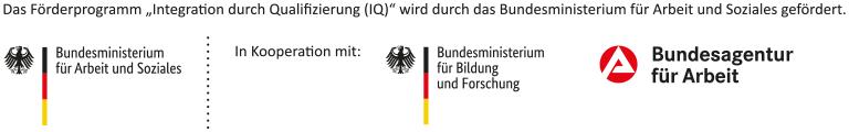 Logoleiste Bundesministerium für Arbeit, Bundesministerium für Bildung und Forschung und Bundesagentur für Arbeit