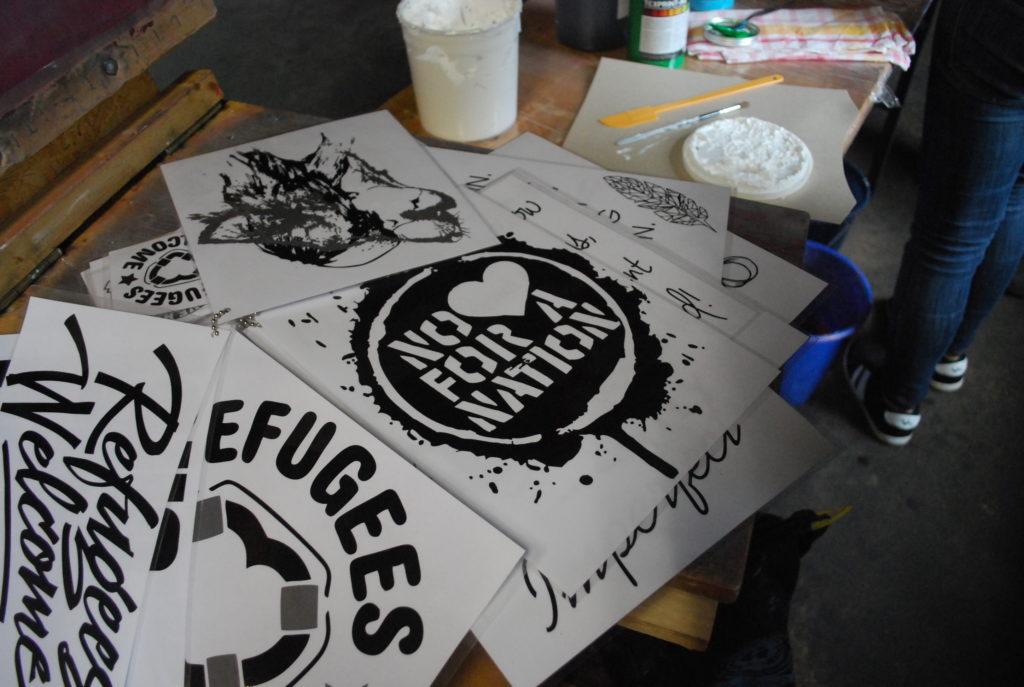 Selbstgemachte Stencil-Motive der Jugendlichen