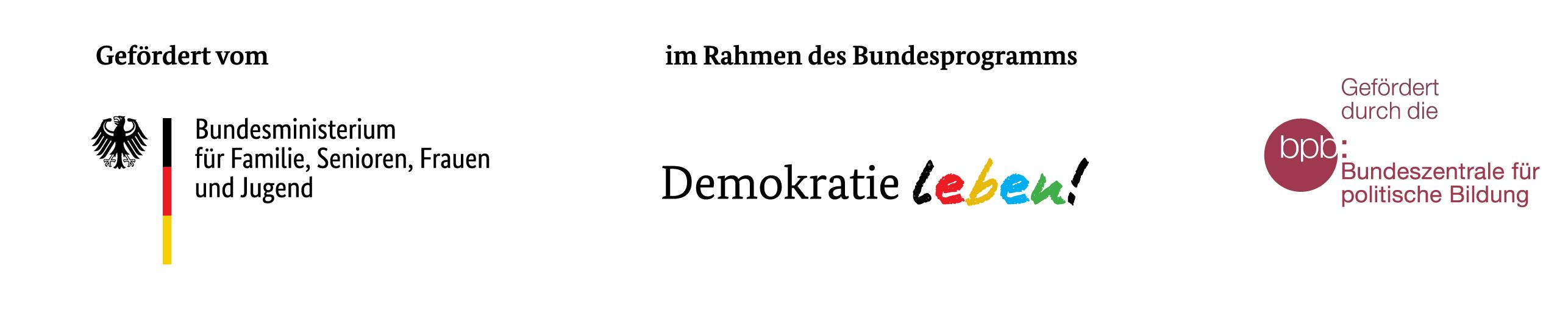 """Logos: Programm """"Demokratie leben!, Bundesministerium für Familie, Senioren, Frauen und Jugend, Bundeszentrale für politische Bildung"""